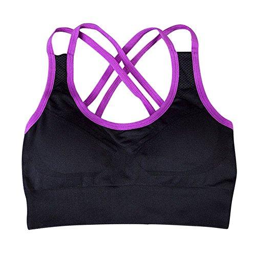 Brightup Femmes Soutien-Gorge Rembourrée Hauts Vest Gym Fitness Sport Yoga Violet