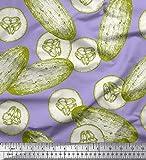 Soimoi Azul terciopelo Tela Pepino vegetal estampada de tela por metro 58 Pulgadas de ancho