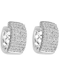 9/10 CTW Round Diamond Hoop Earrings in 14K White Gold (MDR140074)
