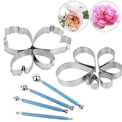 EMAGEREN Tortendekoration Blumen-Modellier-Set 4 Stück Metallkugel Fondant-Werkzeug 7 Stück Rosenblüten-Ausstechformen 4 Stück Pfingstrose Blumen-Ausstechformen Fondant Prägewerkzeug