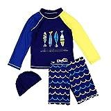 Duevin Bébé Enfant Garcon Maillot de Bain Short ondulé et Manches Courtes imprimées, Maillot de Bain Combinaison Anti-UV Bébé Enfant, T-Shirt + Shorts + Bonnet(4-Bleu Foncé)