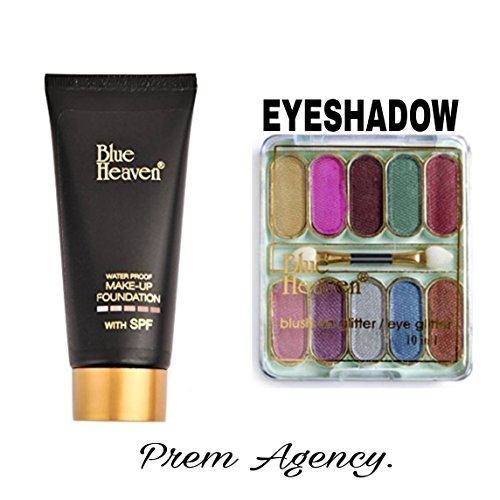 Blue Heaven Plastic Combo of Make-Up Foundation& 10 in 1 Eye Shadow(Combo-10)
