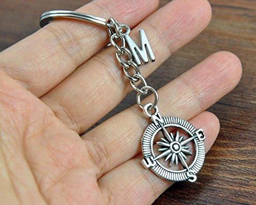 Personalisierte Kompass Schlüsselanhänger Set, Initiale Schlüssel Ketten-Graduation Jahrestag Geschenk für ihn, Kompass Schlüsselanhänger, Urlaub Geschenk, Freundschaft (Urlaub Geschenk-sets)