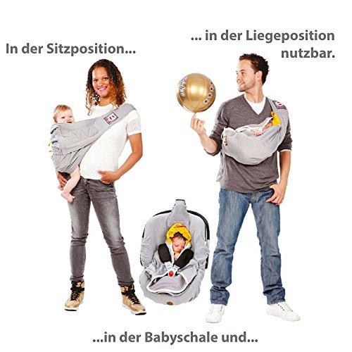 Lodger Shelter 2.0 - 3in1 Babytrage, Babytragetuch, Babysling sowie Transportdecke für Babys und Eltern, ab Geburt bis 18 Monate (max. 12kg), Sicheres Verschlusssystem, Trage-Tuch für Babys und Kinder, Schönes Design, Neu und OVP - 4