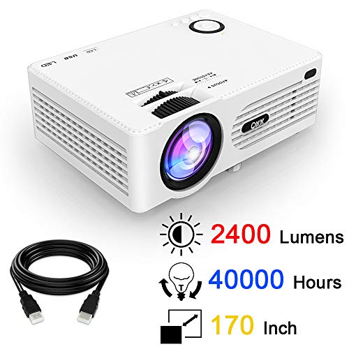 QKK Projector, Mini Projector, Video Projector 2400 Lumens, Supports 1080P Full HD, Compatible with Fire TV Stick, PS4, XBox, Chromecast, HDMI, VGA, SD, AV USB, Home Theater Projector, White.