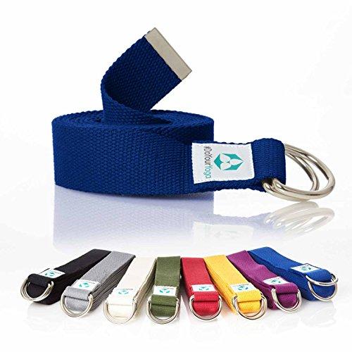 #DoYourYoga Yogagurt »Madira« / Yoga-Belt Gurt 100% Baumwolle mit stabilem Metall-Ring-Verschluss / 250 x 3,8cm / blau