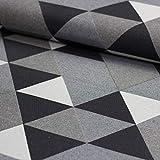 Stoff Dekostoff Vilosa Dreiecke grau - Stoff Canvas -