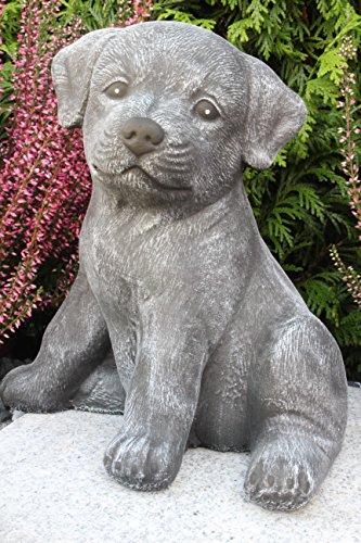 Steinfigur Hund sitzend, Gartenfigur Steinguss Tierfigur Basaltgrau