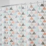 mDesign Cortina de baño con diseño de triángulos – Cortinas de ducha con medidas 183 cm x 183...