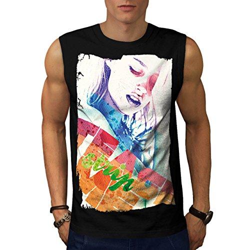 Mädchen Gesicht Streifen Mode Verführung Herren M Ärmellos T-shirt | (Perücke Schwarze Verführung)