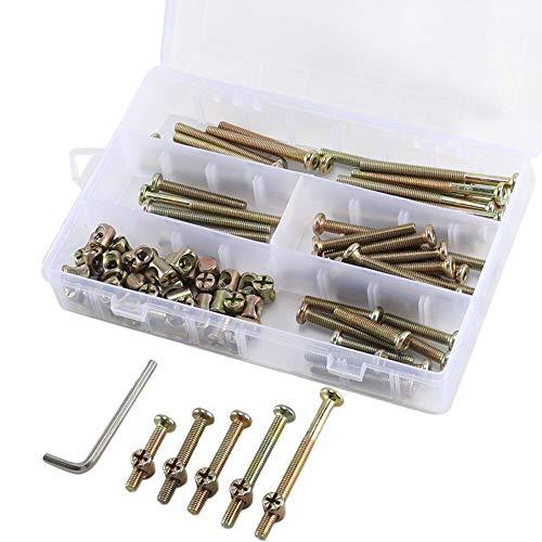 Wiegen Möbel (Bolt Muttern Sortiment Kit, dayree 100M6x 35/45/55/65/75mm Zink versilbert Innensechskant Head Gap mit gratis Hex Schlüssel für Möbel, Wiegen, Betten, Krippe und Stühle)