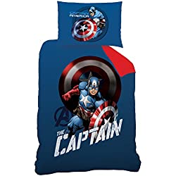 Avengers Juego de Cama, algodón, Azul/Rojo, 140x 200cm