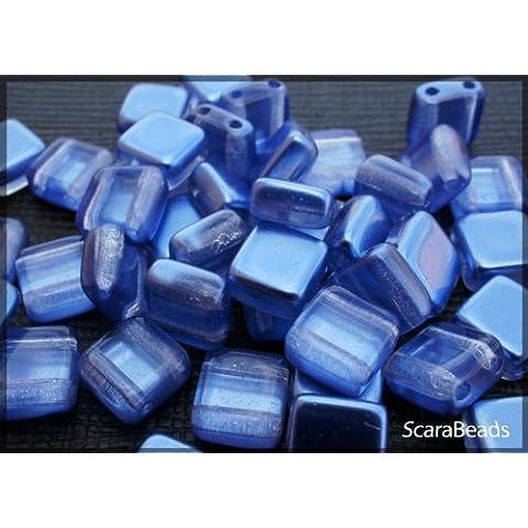 40 pz Tile Beads - Ceco piazza perline di vetro con due fori, rivestimento perla da un lato, Dark Blue - Veneziana Seed