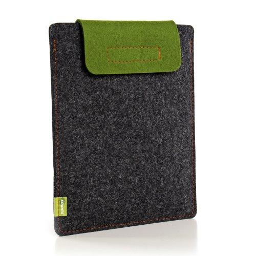 Almwild Hülle Case Tasche für Apple Macbook Air 11 Zoll. In Schiefergrau mit Verschluß - Lasche in almwildem Grün (Apple Macbook Air 11 Sleeve)