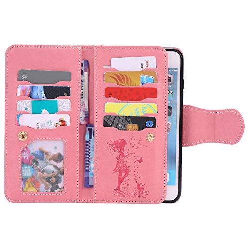 """Schutzhülle iPhone 6S Hülle Flip Style, Doppelte Zwischenschicht Brieftasche Karte Halter, Weich PU Leder Gedruckt Hübsch Mädchen Muster Handy Tasche Case für Apple iPhone 6 6S 4.7"""" Rose Gold Pink"""