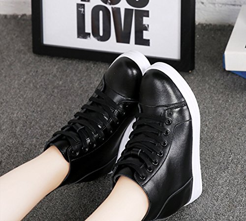 Damen Klassische Hochschaft Sneakers Unsichtbar Aufzug Bequem Rund Zehen Anti-Rutsch Flache Freizeitschuhe Schwarz