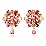 YELLOW CHIMES Double Flower Swiss Cubic Zircon 18K Gold Plated Studs Earrings for Women and Girls