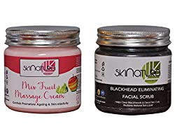 SKINATURA MIX FRUIT MASSAGE CREAM & BLACK HEAD ELIMINATING FACIAL SCRUB (Pack of 2)