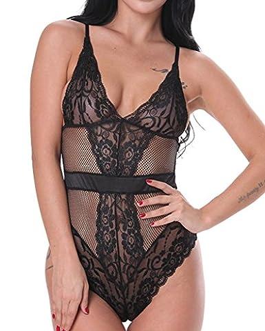 Vilania Nuisette Femme Lingerie Dentelle Robe Teddy Une Pièce Babydoll Transparent Vêtement de Nuit Ouverte Pyjamas M-3XL, UK-TXZ9083-Black-3XL