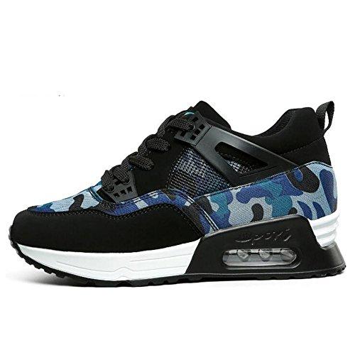 GESIMEI Femmes Mode Camouflage Couleur Bloque Baskets Chaussures Plateforme Air des Étudiants (S'il vous plaît vérifier le tableau des tailles dans l'image principale) Bleu