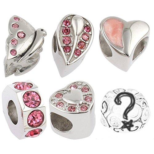 Timeline Treasures Edelstahl Charm Armband Perlen Strass Rosa Stahl für Pandora 1 (Brighton Halskette Herz)