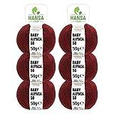 100% Alpakawolle in 50+ Farben (kratzfrei) - 300g Set (6 x 50g) - weiche Baby Alpaka Wolle zum Stricken & Häkeln in 6 Garnstärken by Hansa-Farm - Weinrot Heather (Dunkel-Rot)