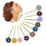 10 Stück Kristallblumen Bobby Pins Haarnadeln Gold Metall mehrfarbige Haarspangen für Frauen Friseur Haare Styling Haarschmuck