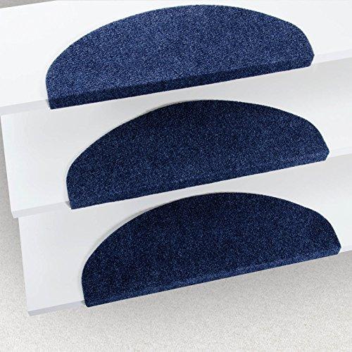 Alfombrillas para escalón casa pura Leipzig, set de 15 piezas (23 x 65cm), múltiples colores, duraderas, con protección antideslizante, azul, 23 x 65 cm
