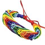 VJGOAL Damen Armband, Damen Mädchen Charme Lesben LGBT Flagge Braid Regenbogen Gay Pride Armband Liebe Valentinstag Geschenke (Rot)
