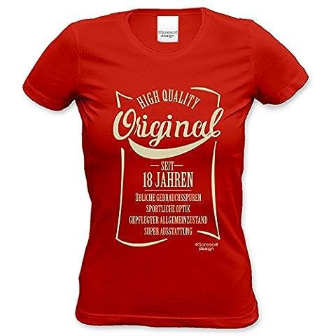 Damen Mädchen kurzarm T-Shirt Girlie Shirt :-: als Geschenkidee für Teenager :-: Geschenk zum 18. Geburtstag Volljährigkeit :-: Geburtstagsgeschenk Überraschungs-Geschenk :-: