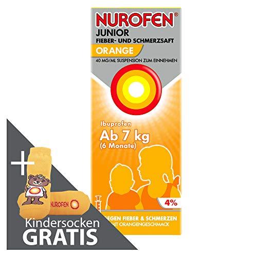Nurofen Junior Fieber- und Schmerzsaft Ibuprofen mit Orange Geschmack bei Schmerzen und Fieber für Kinder & Jugendliche 40 mg/ 100 ml + gratis Kindersocken