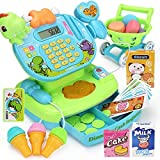 Hokly Pretend Gift Set, Kids Toy Supermarket Till Cash Register, Shop Till Role Play Fun Playset for Kids Boys Girls Age 3 years and up (with Shopping Cart) (Grün)