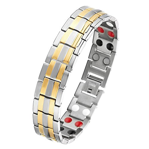COOLSTEELANDBEYOND Silber Gold Herren Titan Therapy Armband mit Magneten Germanium, Link-Tool zum Entfernen Enthalten (Armband Mit Magneten)