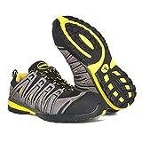Paredes SP5027 GR47 Helio S1P SRA - Zapatos flexibles de seguridad deportivos con cordones, Negro/Gris/Amarillo, 47 EU