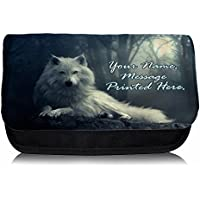 Personalised White Wolf Fantasy St732 Pencil Case / Make-up Bag / Glasses Medication Carrier