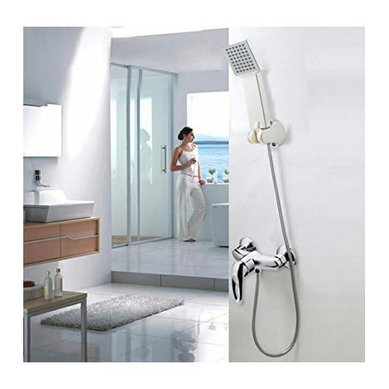 TOTAL HOME Chrome Handheld ABS Plastic Water-saving Bath Sprayer Shower Sprinkler Shower Head, 1 Quart (Silver)