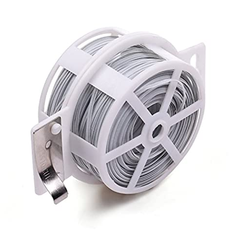 Lenhart 328 Feet (100m) Multi-Function Sturdy Garden Plant Twist Tie with Cutter/ Cable Tie/Zip Tie/ Coated Wire (White)