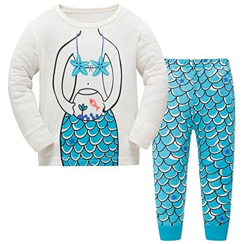 Baby-Pyjama-Baumwollkleinkind-Jungen-Kind-Meerjungfrau-Nachtwäsche-Nachtwäsche-Pyjamas gesetztes 2 Jahre