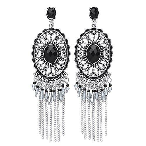 Front Row Ohrringe Farbe antikes Silber mit schwarzen Kristallfranzen