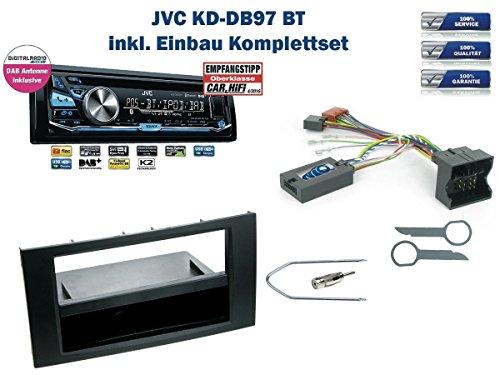 Ford Fiesta / Focus / C-MAX / S-MAX uvm. Autoradio Einbauset *Schwarz* inkl. JVC KD-DB97BT (DAB+) und Lenkrad Fernbedienung Adapter