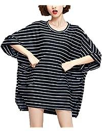 melbedy mujeres moda grande negro y blanco rayas Top & T Shirt con bolsillos