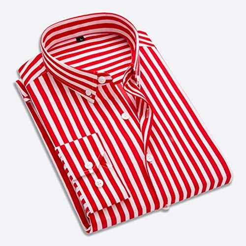 Iyfbxl camicia basic da uomo - a righe, rosso, l