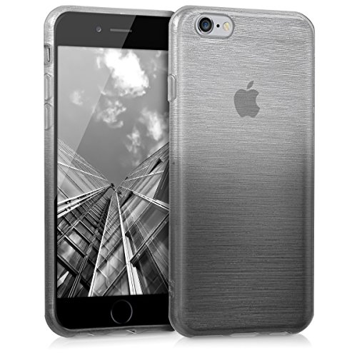 kwmobile Hülle für Apple iPhone 6 / 6S - TPU Silikon Backcover Case Handy Schutzhülle - Cover Brushed Aluminium Farbverlauf Design Anthrazit Silber