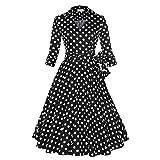 WintCO Damen Reverse Rockabilly Audrey Hepburn 1/2 Ärmel Vintage Faltenrock mit Gürtel Polka Dots Kleid Retro (L, schwarz mit Punkte)