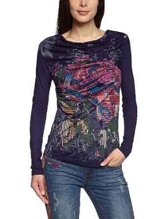 Desigual 37T2400 T-shirt  Femme  - Bleu - Blau (midnight 5040) - 42