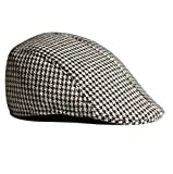 Imported Unisex Adult Cotton Hound Tooth Beret Cap Newsboy Flat Hat--Coffee+White
