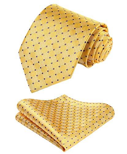 Hisdern dai un'occhiata cravatta da sposa fazzoletto cravatta da uomo & pocket square set giallo/viola