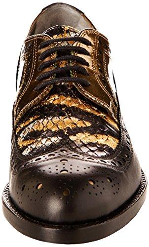 Robert Clergerie Roelsj, Chaussures de ville femme Noir (Veau Lisse Noir/Laminata Iron Or)