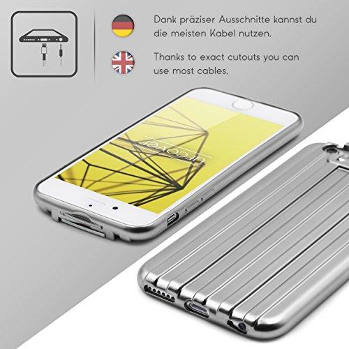 Urcover® Apple iPhone 6 Plus / 6s Plus Handy Schutz-Hülle Metal Optik | Backcase in Champagner Gold Transparent | TPU Cover | Smartphone Zubehör Case Etui Schale Silber