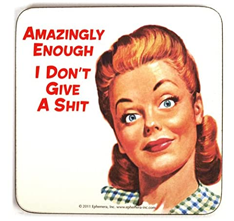 Amazingly Enough... single funny drinks coaster (hb white)